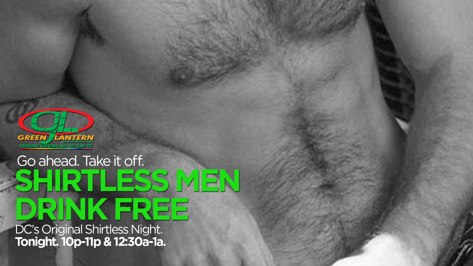 Shirtless Men Drink Free